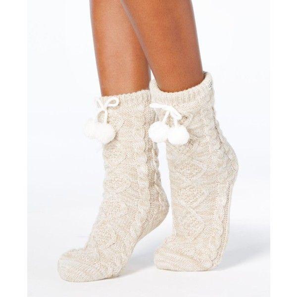 Ugg Pom Pom Fleece Slipper Socks ($50) ❤ liked on Polyvore featuring intimates, hosiery, socks, cream, pom pom socks, ugg, cream socks, ugg socks and fleece socks