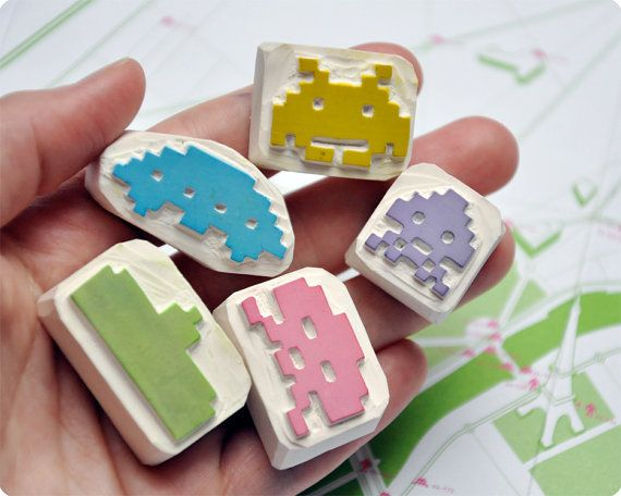 Space invaders hand carved stamp set of 5    http://www.etsy.com/listing/76064095/space-invaders-hand-carved-stamp-set-of