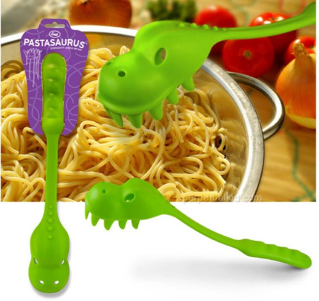 This dinosaur pasta server.                                 17 Creative Kitchen Gadgets To Make Your Cooking A Lot More Fun