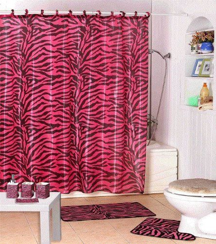 Pink Zebra Bathroom Accessories