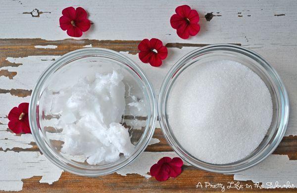 Coconut Sugar Scrub - A Pretty Life In The Suburbs 1/2 cup sugar, 1/4 cup coconut oil