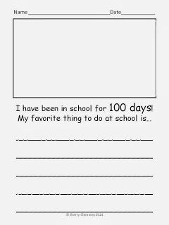 100th Day of School Writing FREEBIE (1 page)