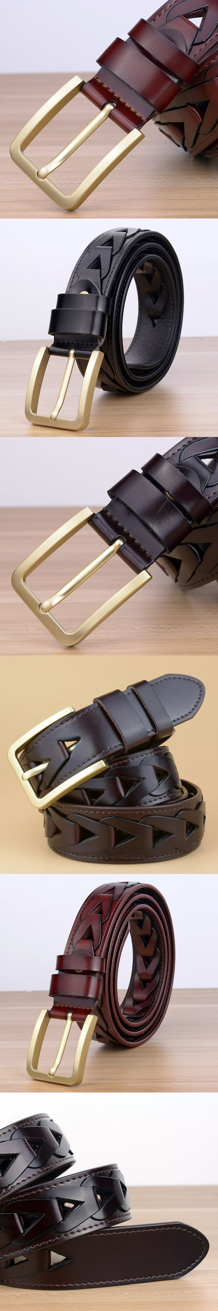 New Braided Belt Leather Belt Men Fashion Jeans Belts Male Vintage Girdle Waistband Male PIn Buckle Weaving grain belt