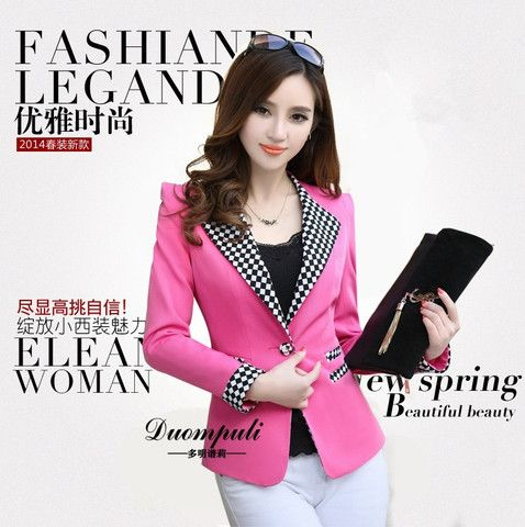 fashion suit summer temperament ladies one button grid candy color Sli – teeteecee - fashion in style