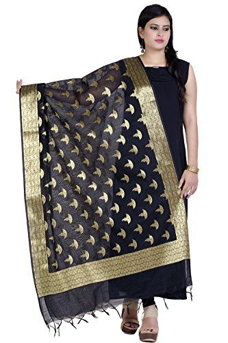 Chandrakala Women's Chanderi Zari Work Banarasi Dupatta (Black) - Give a beautiful finish to your traditional look.Made from Cotton silk this dupatta will give you a extra ordinary look.Wrap this on one shoulder and give a stylish touch to your look. Team this with your favorite kurta and palazzo pants for an effortless ethnic look.