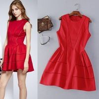 Envío gratuito nuevo vestido de estilo occidental 2016 mujeres del verano de la alta calidad del algodón ahueca hacia fuera el bordado Slim Fit ALine vestido de algodón rojo