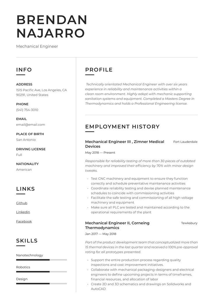 Engineering resumes templates mechanical engineer resume