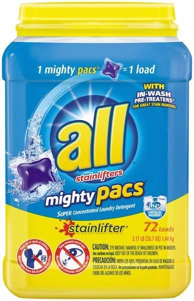 All Mighty Pacs Laundry Detergent Stainlifter Tub 72