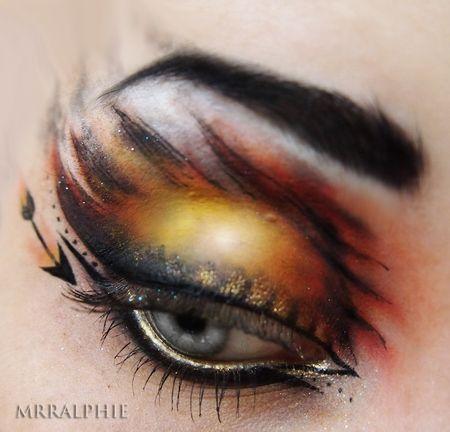 this is freaking sweet: Catch Fire, Hunger Games Makeup, The Hunger, Games Inspiration, Eye Makeup, Makeup Artists, Halloween Makeup, Katniss Everdeen, Makeup Samples