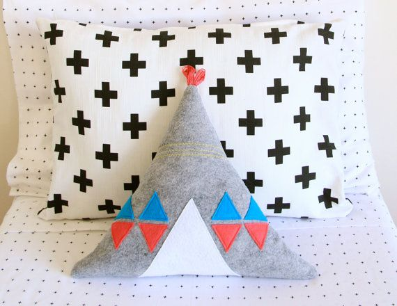 Grey teepee pillow / nursery decor / child's room / modern kids room accessories / grey pink blue white yellow pillow. #modern #nursery #teepee