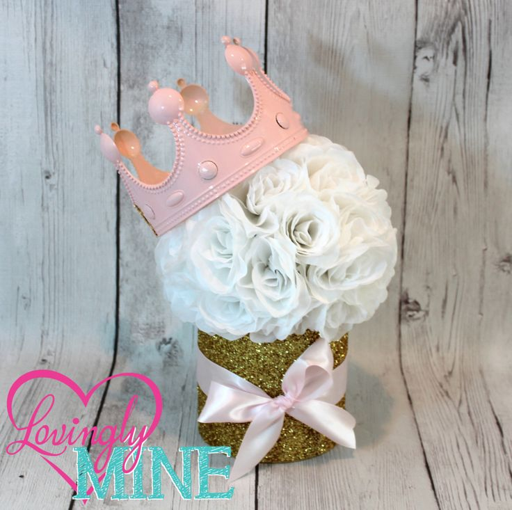Princess Party Centerpiece, Perfect for Any Event - Baby Pink, White & Glitter Gold - White Rose Pomander by LovinglyMine on Etsy