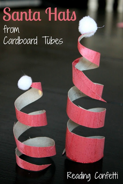 Easy last minute Christmas craft - Santa hats made from toilet paper rolls