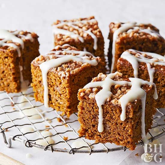 Pumpkin isn't the only healthy ingredient hiding away in this snack cake -- we also added flax seeds and a mix of buckwheat and spelt flour. This cake isn't all healthy, though; toffee pieces and a cream cheese icing on top make it decadent enough for dessert.