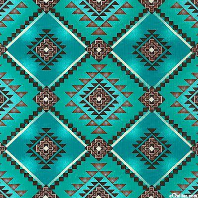 DTKOK&BB: Native Motifs - Navajo Diamonds - Teal.  David Textiles. $7.95 yd from eQuilter.com