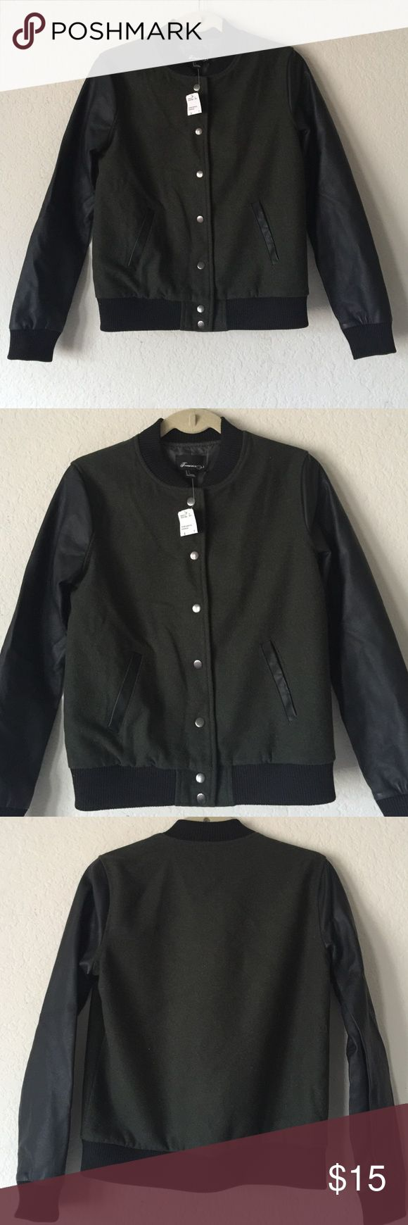Olive & Black Leather Bomber Jacket Brand New, With Tags. Cute Forever 21 bomber jacket with a deep olive colored body and faux black leather sleeves. Forever 21 Jackets & Coats