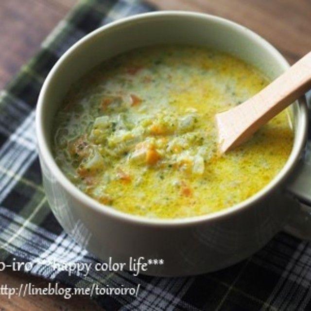 食べるスープ★ブロッコリーと人参のカレー豆乳スープ