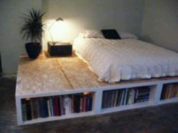 Pallet Bedframe For A Nice Book Shelf Favorite Places
