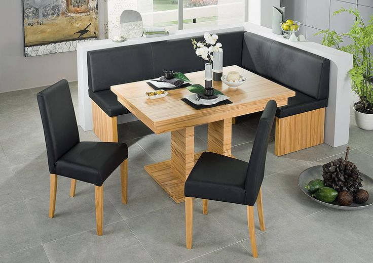 Black Leather Corner Bench Breakfast Booth Nook Kitchen