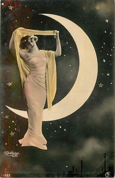 Edwardian Moon Goddess Postcard