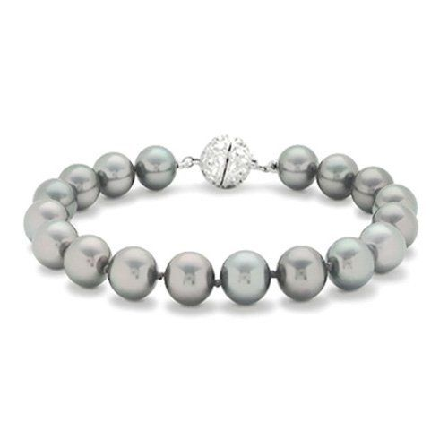 Bling Jewelry Bridal 12mm South Sea Shell Grey Pearl Bracelet Bling Jewelry. $19.99. Screw barrel closure. Strung South Sea Shell Pearls. Weighs approximately 40 grams. Accented with Pave Set Cubic Zirconia Stones. 12mm grey pearl