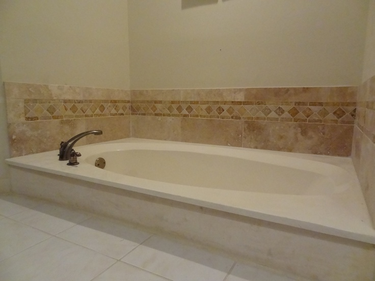 Our Own Finished Bathtub Backsplash Of Travertine Tile
