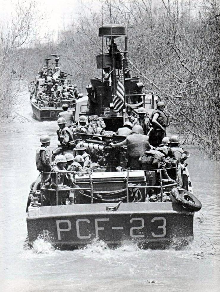 Combined U.S. Army–U.S. Navy forces operating in the Mekong Delta in April 1969 #vietnam #war