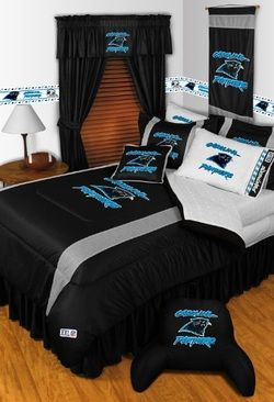 NFL Carolina Panthers 5 Piece Comforter Set...For more sports bedding options follow https://www.facebook.com/BoysRooms