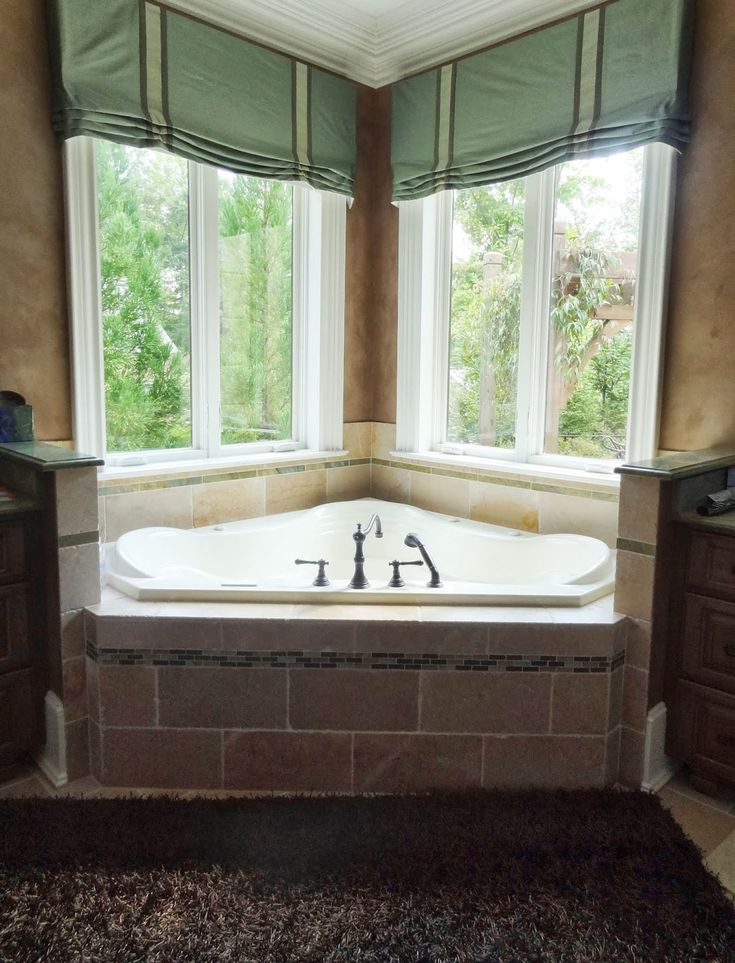 Amazing Jacuzzi Window Treatments,valances, Cornices, Silk, Bathroom, Privacy,  Drapes. Bathroom Window TreatmentsBathroom WindowsBathroom CurtainsCorner  ...
