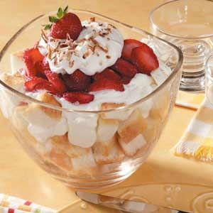 "Strawberry Yogurt Trifle Recipe -""This dessert is a favorite in my family,"" notes Nella. ""Since it requires only five ingredients, it's a breeze to put together. ""You can even assemble it a few hours ahead of time,"" she adds."