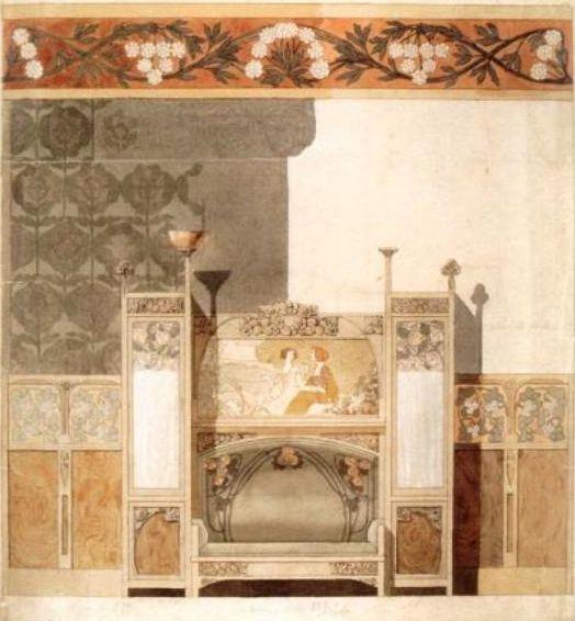 акварельный эскиз Гаспара Омара для оформления иетерьера Каса Навас