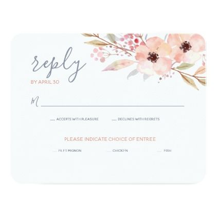 #Blush Pink Floral Watercolor Modern Wedding Reply Card - #wedding gifts #marriage love couples