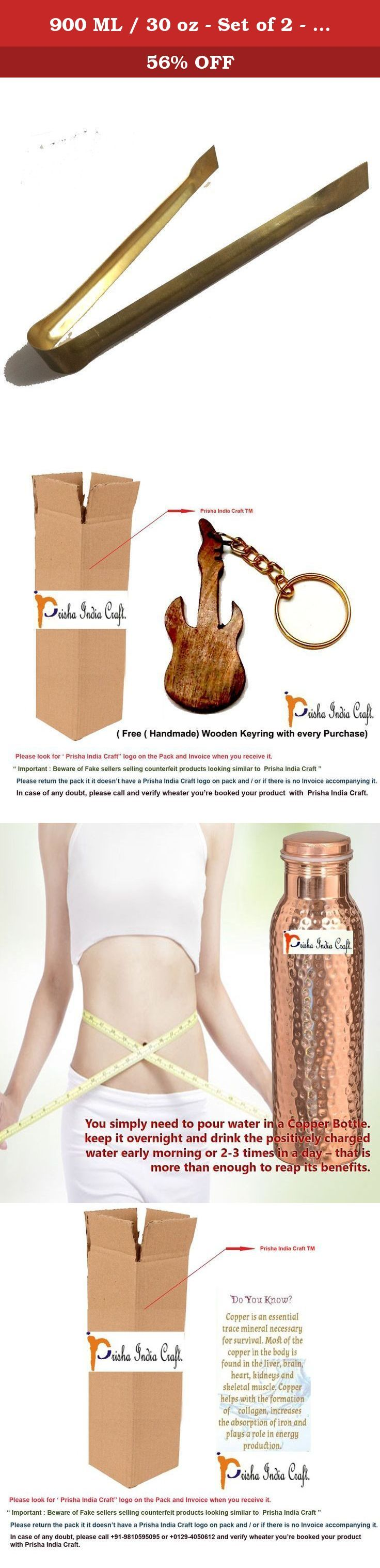 900 ML / 30 oz - Set of 2 - Prisha India Craft ® Traveller's 100 % Pure Copper Water Bottle or Thermos Flask Ayurveda Health Benefits - Designer Water Bottles Joint Free,Leak Proof Christmas Gift. Prisha India Craft Copper Water Bottle is designed to bring the ancient remedy of copper water pitchers to modern homes, so that you can keep water in a traditional Ayurveda healing vessel. By simply filling the carafe with water and letting it sit for 6 to 12 hours, you'll be able to benefit…