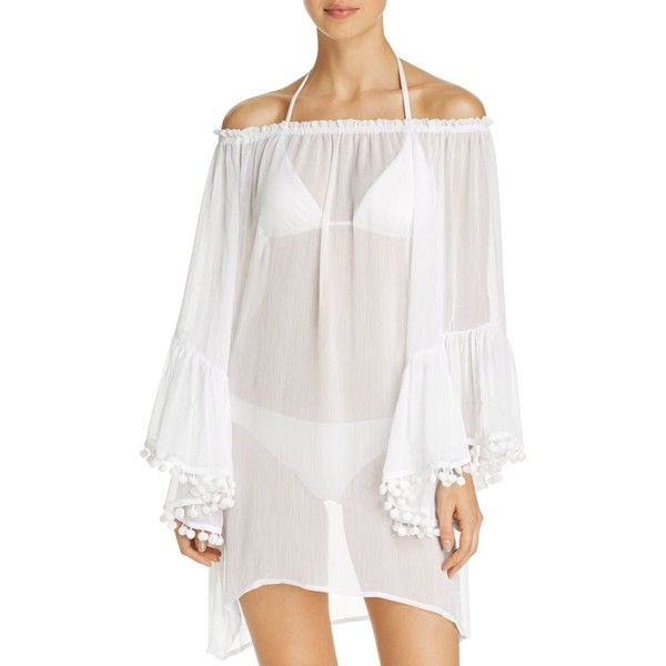 Bleu Rod Beattie Off-the-Shoulder Dress Swim Cover-Up (5,175 INR) ❤ liked on Polyvore featuring swimwear, cover-ups, white, white cover up, cover up beachwear, off-the-shoulder swimwear, swim cover up and white swimwear