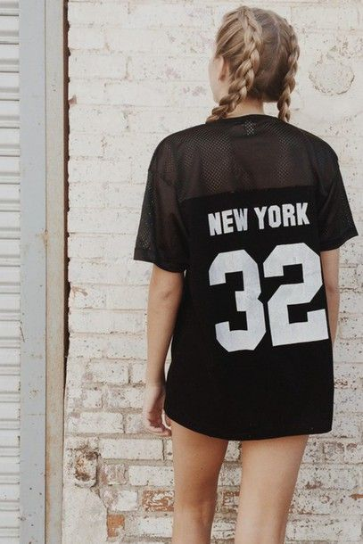Blouse: swag new york city long clothes weheartit girl style grunge rock number long hair jersey