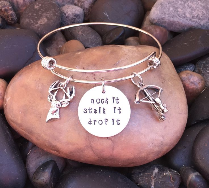 Nock It Stalk It Drop It Bracelet ©   Hunting Bracelet   Hunting Jewelry   Buck Bracelet   Deer Jewelry   Gift For Cross Bow Huntress Hunter by SecretHillStudio on Etsy https://www.etsy.com/listing/471391846/nock-it-stalk-it-drop-it-bracelet-o