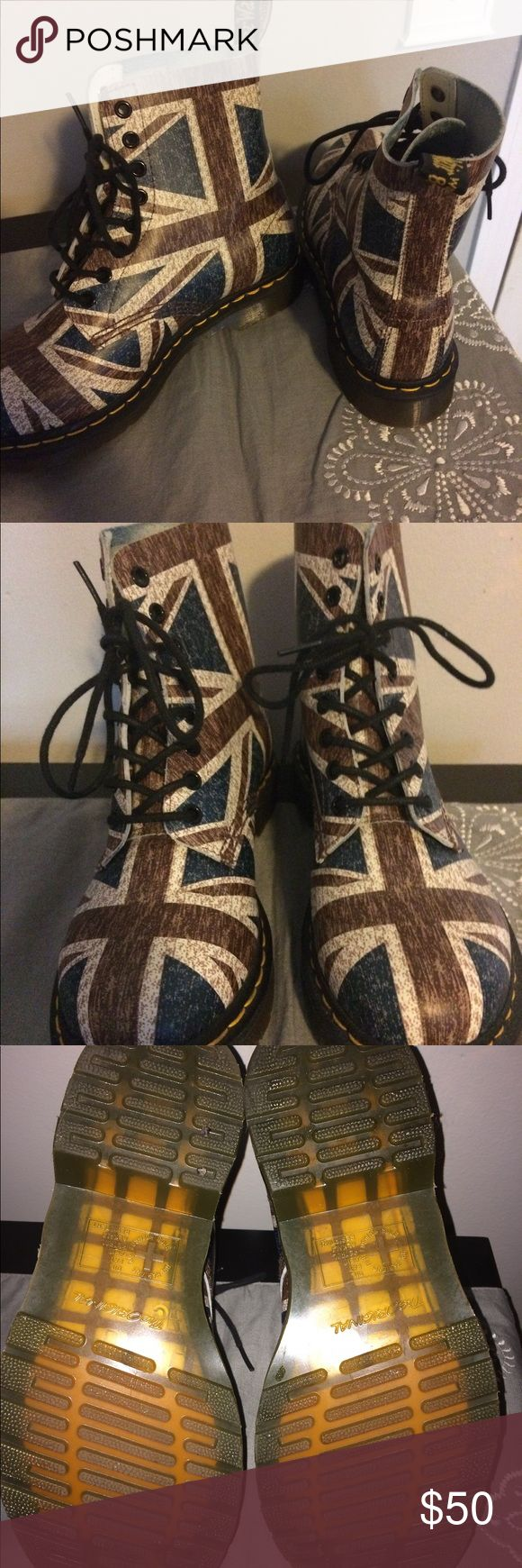 British flag Dr. Martens Maroon and dark blue. Only worn a handful of times. Great condition. Dr. Martens Shoes Ankle Boots & Booties