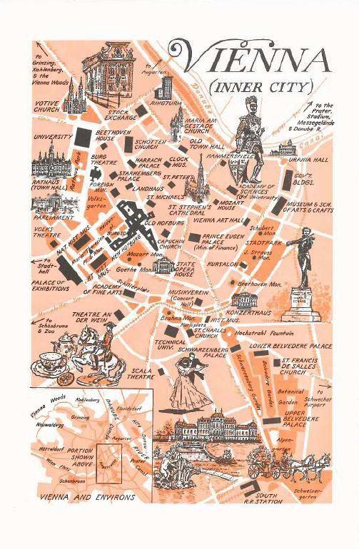 Vienna Map Print / World Map Decor / City of Vienna by HildaLea