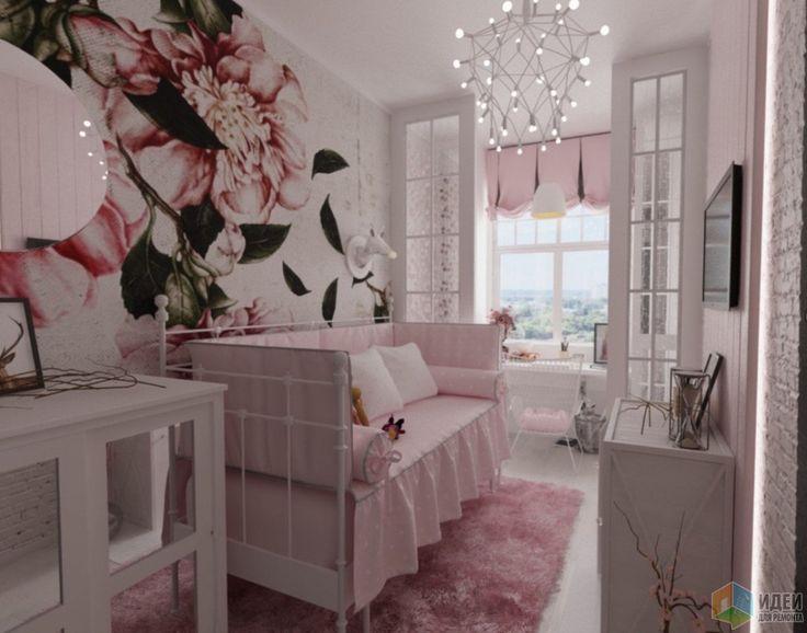 Дизайн-проект квартиры в современном стиле, интерьер детской комнаты для девочки