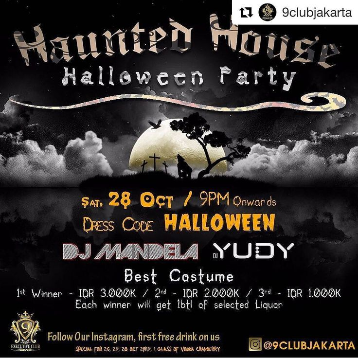9 Club Jakarta present . . HAUNTED HOUSE HALLOWEEN NIGHT PARTY  Saturday Oct 28th 2017 at 9 Club  Pluit Junction  Start: 9PM - till drop ============= . With our best Resident DJ : DJ Mandela @djmandela DJ Yudy @djyudy  Crowd control by : Eros @hengdrikho  Also our SEXY DANCER !! . .  Wear your best haloween costume and win the prize total 6mio  Weekday :  VIP : Rp. 1.500.000 Sofa 6 pax : Rp. 800.000 Sofa 4 pax : Rp. 500.000 . Weekend :  VIP : Rp. 2.500.000 Sofa 6 : Rp. 1.500.000 Sofa 4…