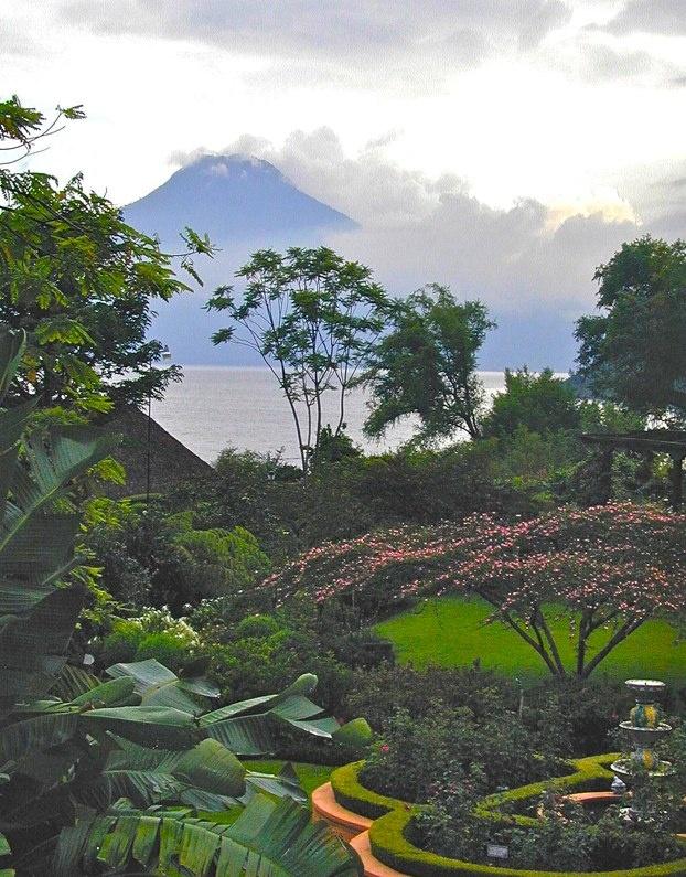 Lake Atitlan, Guatemala  Ancient Mayan villages  Town of Santiago Atitlan on south side of the lake