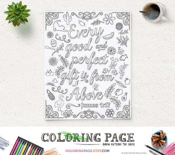 Coloring Page Printable Bible Verse Quote James 1:17 Every good and perfect gift Instant Download Digital Printable Coloring Pages for Adult