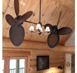 Twin Star Ii Ceiling Fan Rustic Edition With Antler