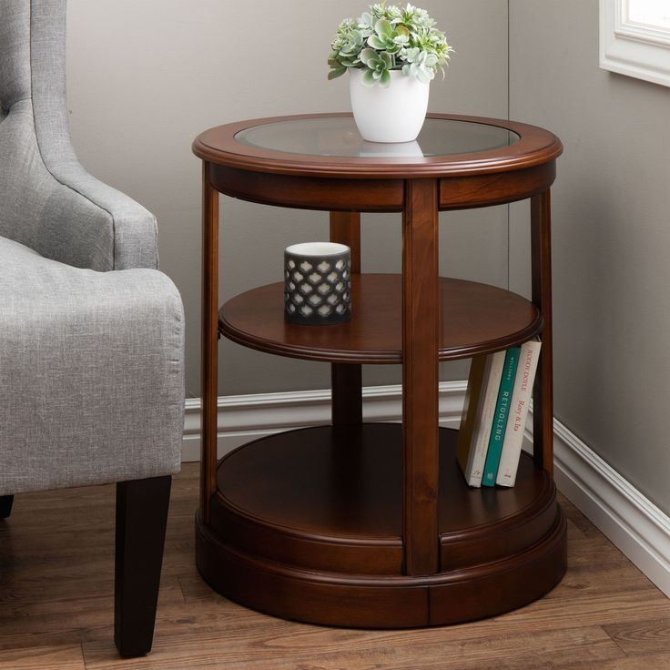 Round Wooden End Table with Glass Top