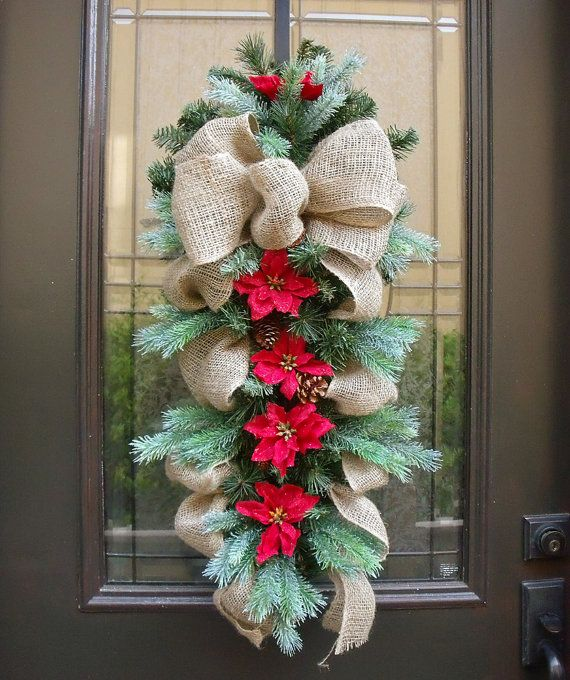 Country Christmas Swag, Burlap Swag, Holiday Wreath Burlap, Burlap Christmas Wreath, Rustic Decor