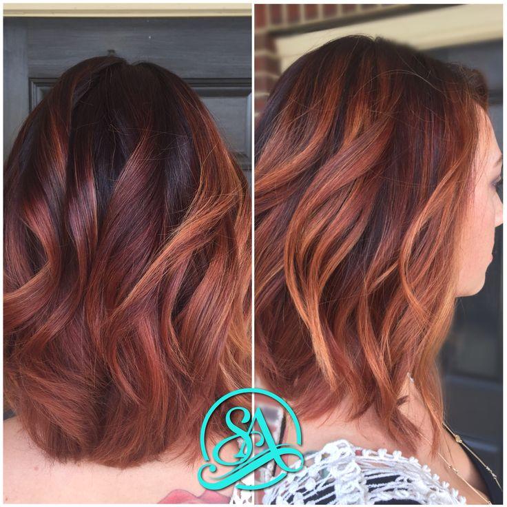 Blush Ginger Balayage. Short hair balayage on dark hair. Copper balayage. Hair painting on long bob