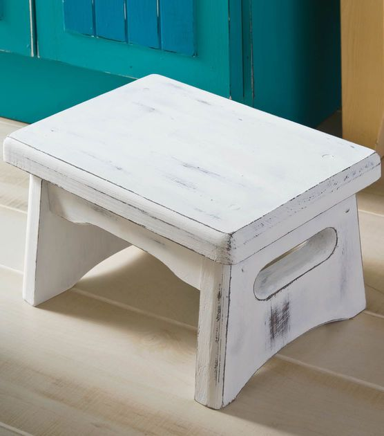 Distressed Cottage Step Stool. Use three stools in different sizes stacked on one another  to make a small bookcase.