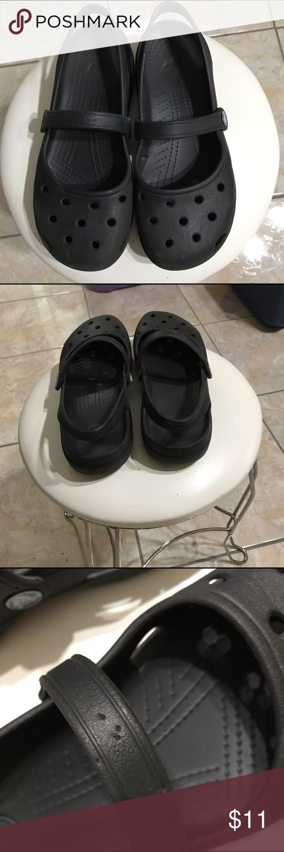 Mary Jane Crocs Gently worn Crocs, in picture #three on the right foot you will see four little holes on strap, really not noticeable, but still in great shape and condition. CROCS Shoes Mules & Clogs