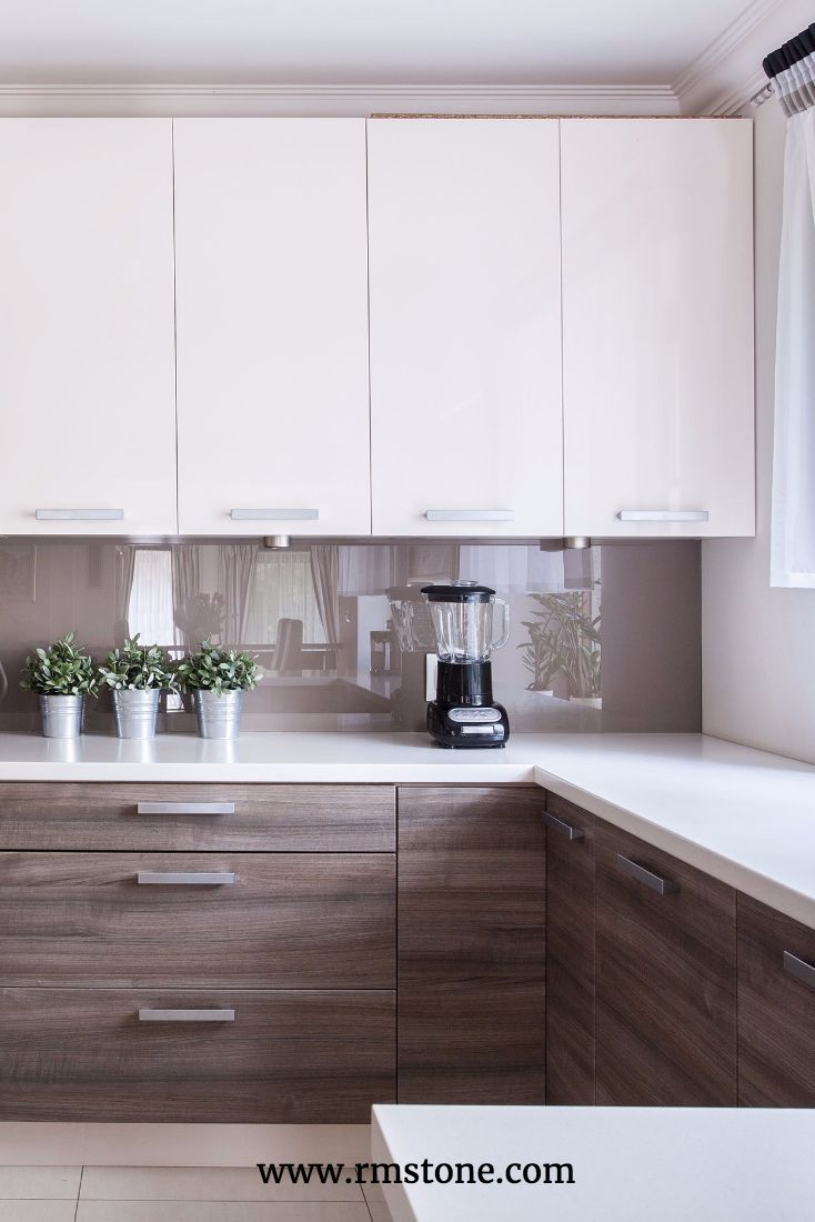 Wood grain countertops are trending right now. Let them sing by pairing them with classic white cabinets and quartz countertops. If you are in Albuquerque you can get Aventine Quartz from Rocky Mountain Stone.