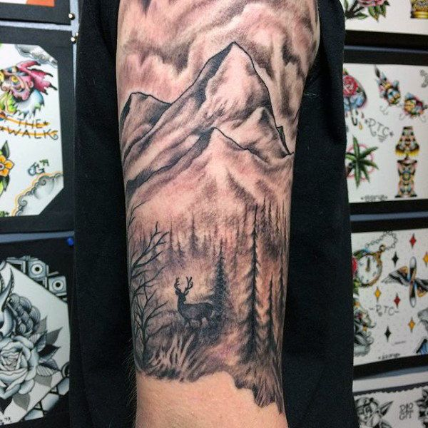 Upper Arm Half Sleeve Mens Deer And Mountain Tattoos