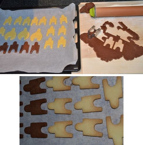 To make sure your chocolate cookies are baked well, you can add some vanilla dough cookies and bake them at once. It's easier to see when they turn brown.